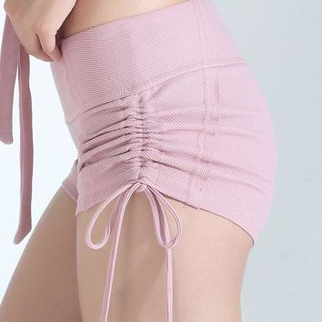 Women Fitness Shorts Ladies Yoga Shorts Short Pants Breathable Seamless Sport Clothes Drawstring Running Shorts For Girl Pink