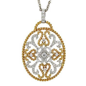 Openwork Diamond Oval Pendant in 18k White and Rose Gold