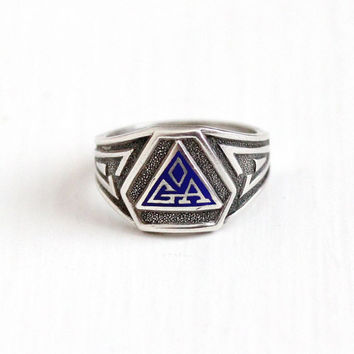 Vintage Sterling Silver Blue Enamel Letters GA Signet Ring - Retro Size 4 3/4 Initials in Triangle Emblem Art Deco Style Statement Jewelry