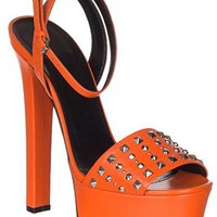 Gucci Women's Orange Leather Studded Platform Heels Sandals Shoes