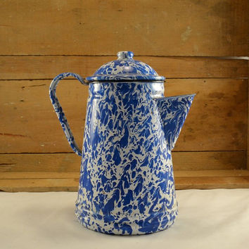 French Enamelware or Graniteware Coffee Pot w/ Blue White Marbled Swirl - Vintage Rustic Farmhouse