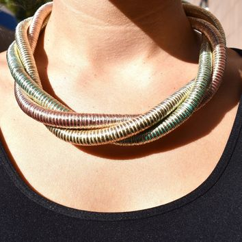 Tri Tone Coil Twist Necklace