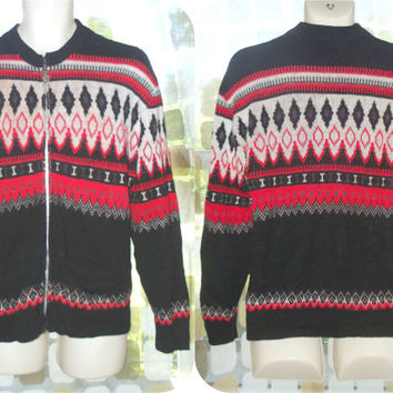 Vintage 50s 60s Red & Black Nordic Cardigan Ski Sweater Mens or Womens Campus Orlon M/L