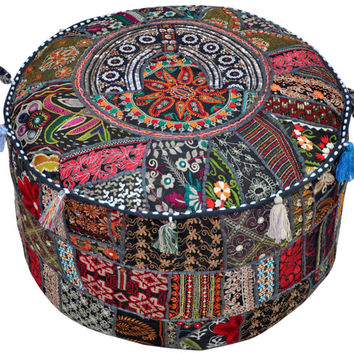 XL Black tufted Pouf Ottoman floor pillow round floor cushion Bean bag chair bohemian poof pouffe floor pillow floor cushion Pouf Footstools