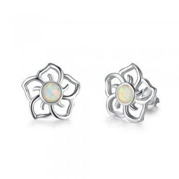 Sterling Silver Created White Opal Hawaiian Flower Pendant Earrings