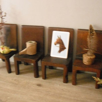 4 vintage hand made solid wood miniature Chairs ... shelves .. display ... doll house cottage