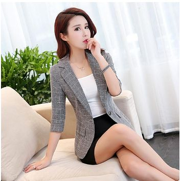 WOMENS PLAID BLAZER