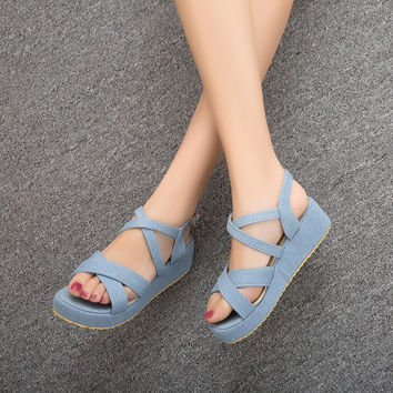 Buckle Ankle Wrap Denim Platform Gladiator Sandals 2992
