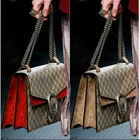 Gucci Women Print Shopping Leather Metal Chain Messenger Bag F