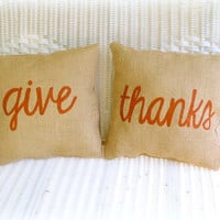 Burlap Pillow Thanksgiving Give Thanks