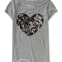Two-Tone Sequin Heart Graphic T - Aeropostale