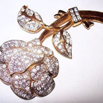 "Nolan Miller Rhinestone Rose Brooch Pin Pave Set Gold Metal High End Designer Signed 4"" Vintage"