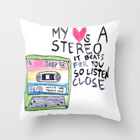 stereo hearts Throw Pillow by Sjaefashion