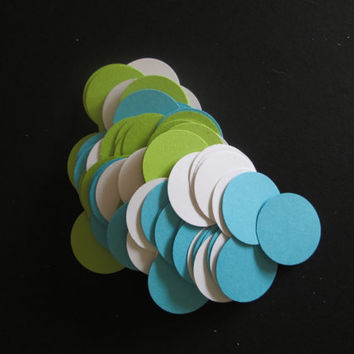 100 Piece Lime and Aqua Circle Confetti- Baby showers, circle confetti, nautical, balloon DIY,  bridal showers, wedding table decor