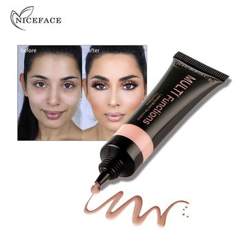 Niceface Liquid Foundation Makeup Brighten Whitening Base Cream Beauty Concealer Colors Face Primer Dark Skin Cosmetic  Make-up