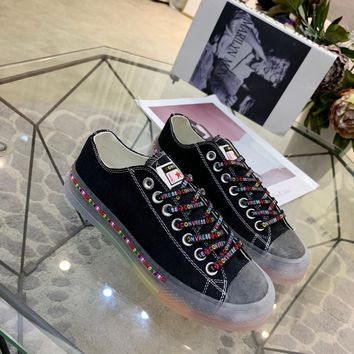 Kuyou Gx19712 Converse All Star Color Tag Jelly Rainbow Bottom Black Canvas Sneakers