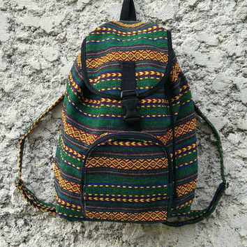 Aztec Boho Tribal Backpack Festival Bags Travel bag Diaper Hippie Ethnic Aztec Hobo Style Hipster Pattern Festival School Messenger in Green