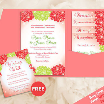 DIY Printable Wedding Pocket Fold Invitation Set A7 5 x 7 | Editable MS Word file| Instant Download | Strawberry | Coral Green Dahlia Flower