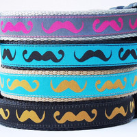 The Hipster - Mustache Dog Collar / Adjustable / Pet Accessories / Handmade / Handlebar Mustache