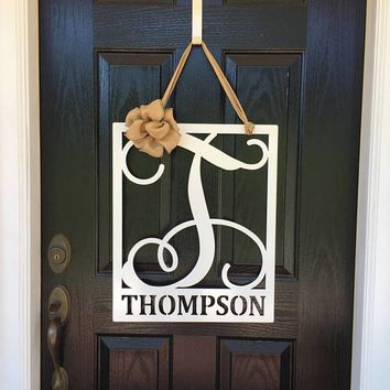 CERTAIN: Square Framed Monogram Door Hanger with Last Name