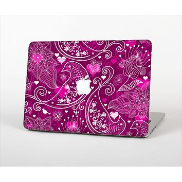 The Vivid Pink and White Paisley Birds Skin Set for the Apple MacBook Air 11""