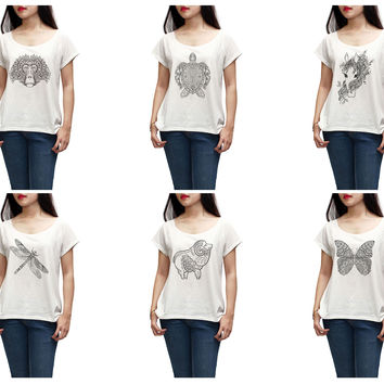 Women Animals drawing in black- white Printed T-shirt WTS_01