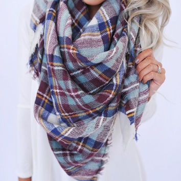 Plaid To Be Yours Scarf- White, Brown, Mint