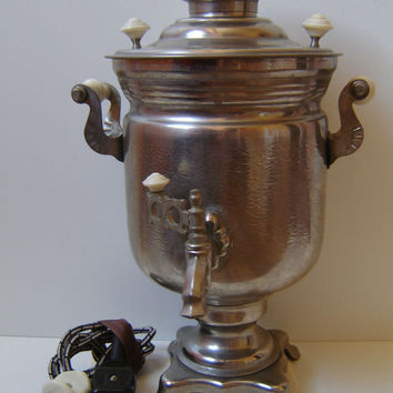Large Soviet Russian Samovar-Accessory - Electric Metal Tea Pot - Nickel Plated Brass - 1976s - from Russia