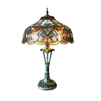 "Alessandra, Tiffany-Style 2 Light Victorian Table Lamp 17"" Shade"