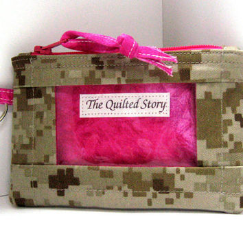 MARINES Military Camo with Hot Pink Zippered ID Case and Key Ring...Treasury Listing