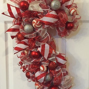 Candy Cane Wreath, Candy Cane, Christmas Wreath, Christmas mesh wreath, Red White, Holiday Mesh Wreath, Front Door Christmas