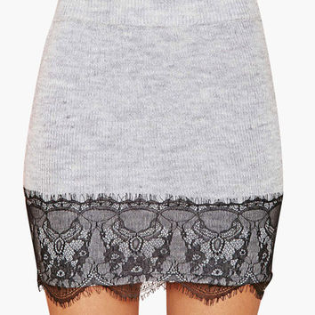 Grey Floral Eyelash Lace Accent Bodycon Mini Skirt