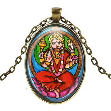 Goddess Shakti of Primal Energy Manifestation Huge Talisman with Chain Necklace