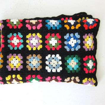 20% Off SALE vintage afghan granny squares blanket throw / black, pink, yellow and green colors