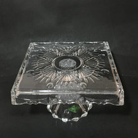 Shannon Crystal Cake Stand, Vintage Irish Crystal Square Cake Stand, Small Cake Stand, Dessert Tray
