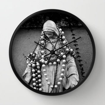 Religious Wall Clock Fine Art Photography Virgin Mary Madonna statue Black White Decor Catholicism New Orleans Mardi Gras Retro Iconography