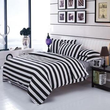 Stripe Grid Bedding Sets Twin/Full/Queen Size Bedclothes Single Double Bed Linen Geometry Printed plaid Duvet Cover Set
