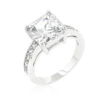 Classic Princess Cut Raised Pave Engagement Ring, size : 05