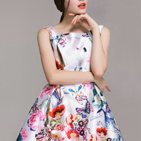 Floral Printed Sleeveless Skater Dress