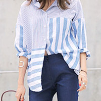 Blue Striped Long Sleeve Shirt Collar Blouse