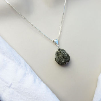 Black Druzy Pendant on Chain, Organic, Rough Cut, Gift Jewelry, Gift for Her, Unique, Gemstone, Crystal Druzy, Day to Night, Chunky Pendant