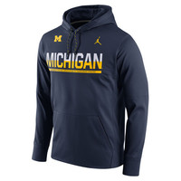 Michigan Wolverines Brand Jordan Circuit Pullover Performance Hoodie - Navy