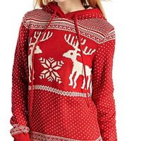 Women's Patterns of Reindeer Snowman Tree Snowflakes Christmas Sweater Cardigan (S, Red with Hood)