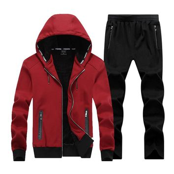 AmberHeard 2017 Fashion Winter Men Sporting Suit Hoodies Jacket+Pant Thick Sweatsuit Two Piece Set Tracksuit For Men Clothing
