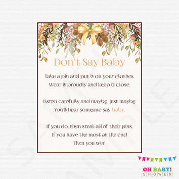 Fall Baby Shower Games, Don't Say Baby, Printable baby shower, clothes pin game, floral baby shower, autumn, boho, rustic, download, FF01
