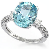 EFFY Aquamarine (4-3/4 ct. t.w.) and Diamond (3/8 ct. t.w.) Ring in 14k White Gold