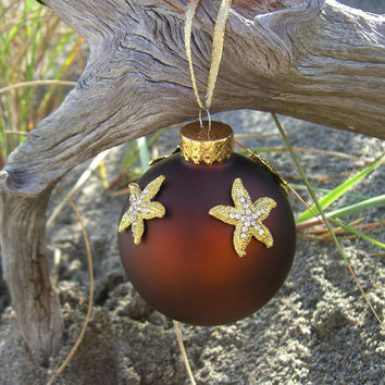 Starfish Holiday Ornament-GOLDEN HOLIDAY-Beach Christmas Decor, Holiday Decor, Beach Wedding Favors, Ornaments, Brown Home Decor, Ocean