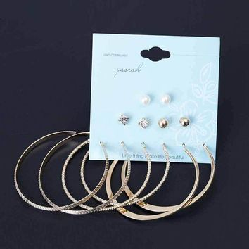 ac spbest Tomtosh 6 Pairs/Set Fashion Punk Crystal Stud Earrings For Women Men Vintage boho Koyle Simulated Pearl Clip Cuff Earring Set