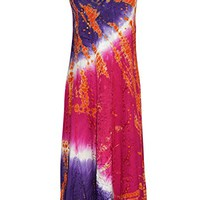 Womens Maxi Dress Pink Tie- Dye Embroidered Long Cocktail Dresses