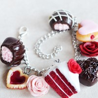 Valentine's Day Flowers and Chocolate Dessert Charm Bracelet, Polymer Clay